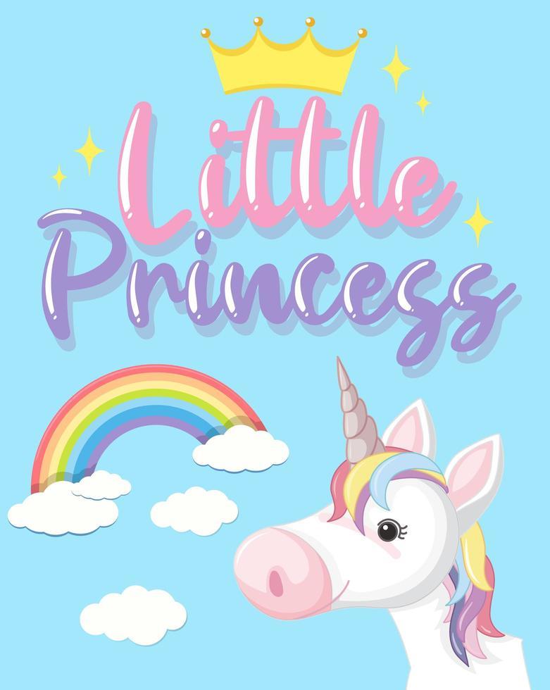 testo della piccola principessa in colori pastello con unicorno carino vettore