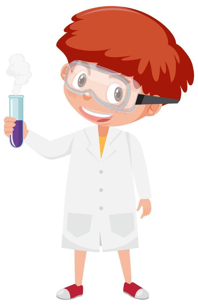 ragazzo in costume da scienziato che tiene la provetta vettore