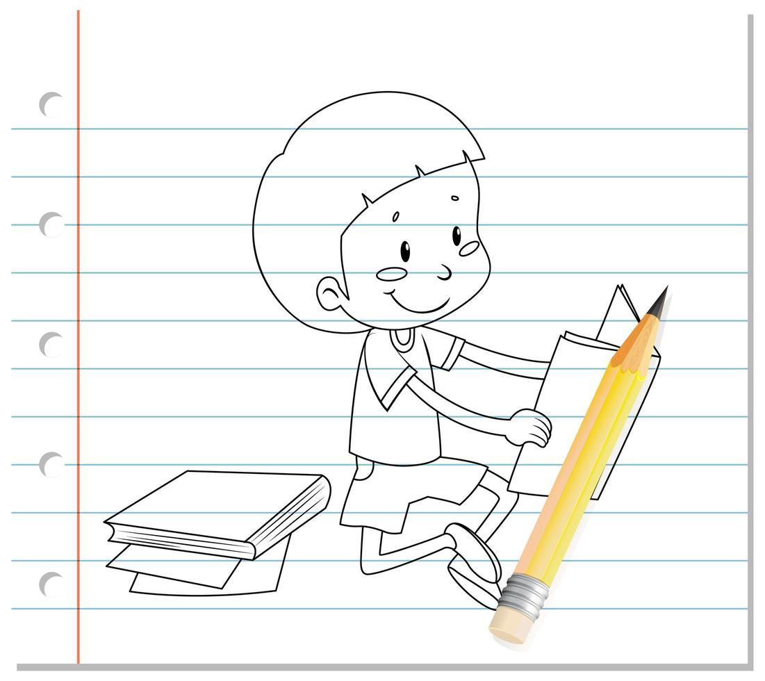 ragazzo che legge il contorno del libro su carta vettore