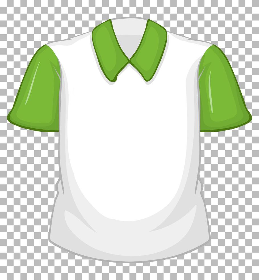 camicia bianca vuota con maniche corte verdi vettore
