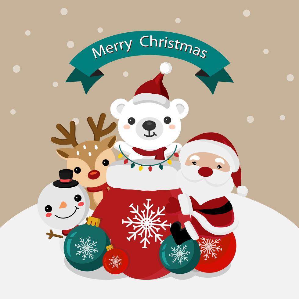Babbo Natale e gli amici di Natale nella scena invernale vettore