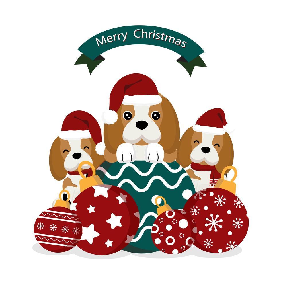 beagles di Natale che indossano cappelli di Babbo Natale con ornamenti vettore