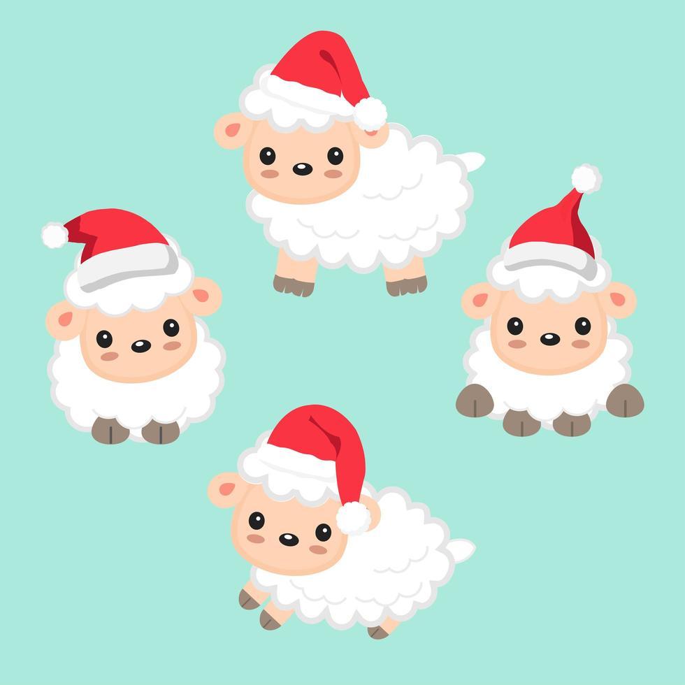 pecore che indossano il cappello di Babbo Natale per la celebrazione del Natale vettore