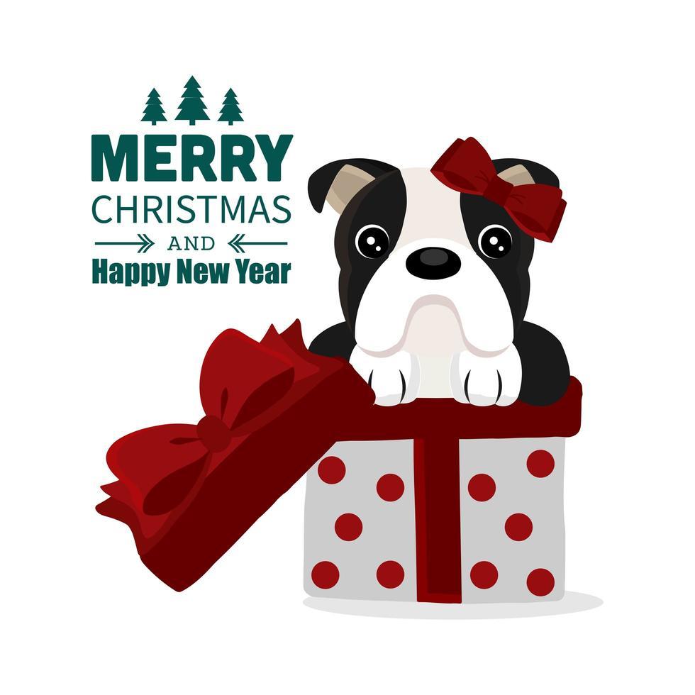 design natalizio con buffo cane toro in confezione regalo vettore