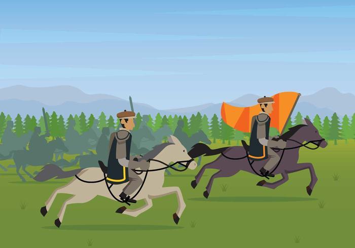 Illustrazione di battaglia libera di cavalleria vettore