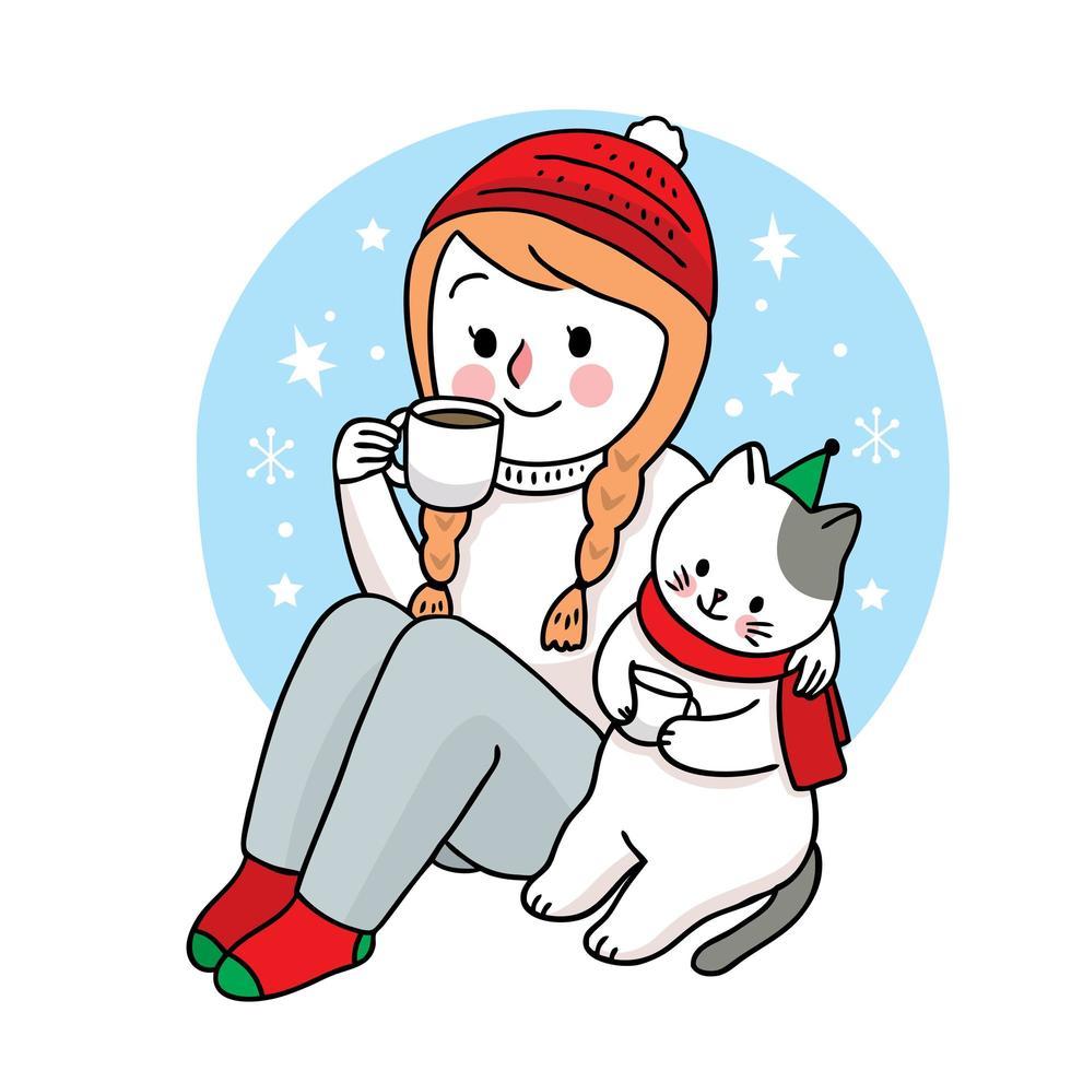 la donna e il gatto di natale disegnati a mano bevono caffè vettore