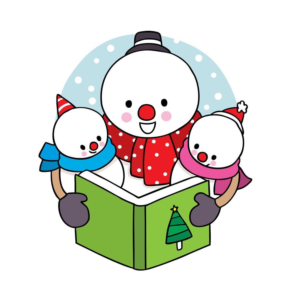 libro di lettura della famiglia del pupazzo di neve di natale disegnato a mano vettore