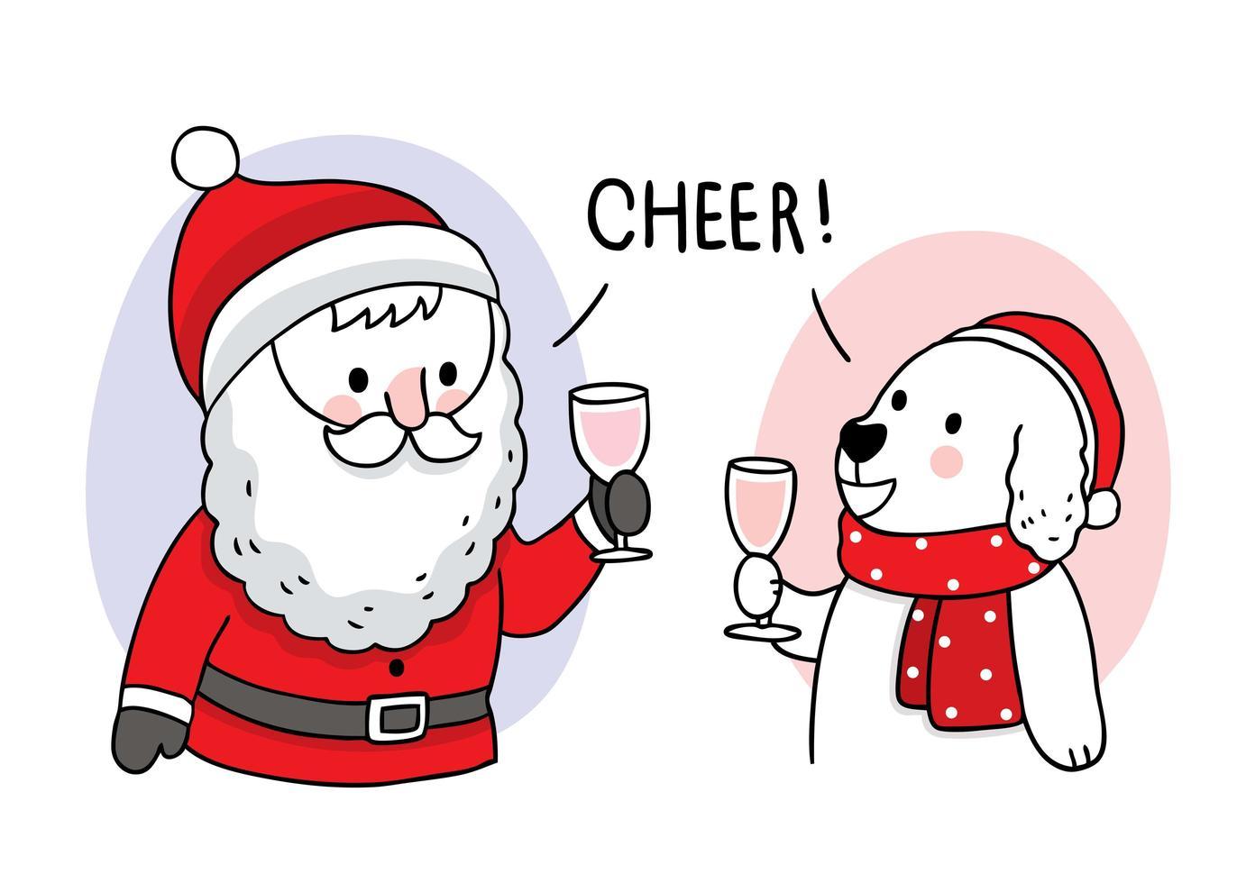 Babbo Natale disegnato a mano e cane che beve in festa vettore