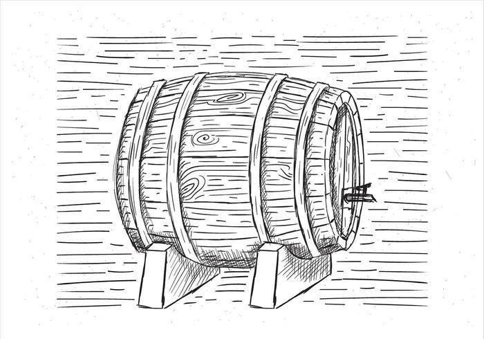Illustrazione disegnata a mano vettore barile di vite