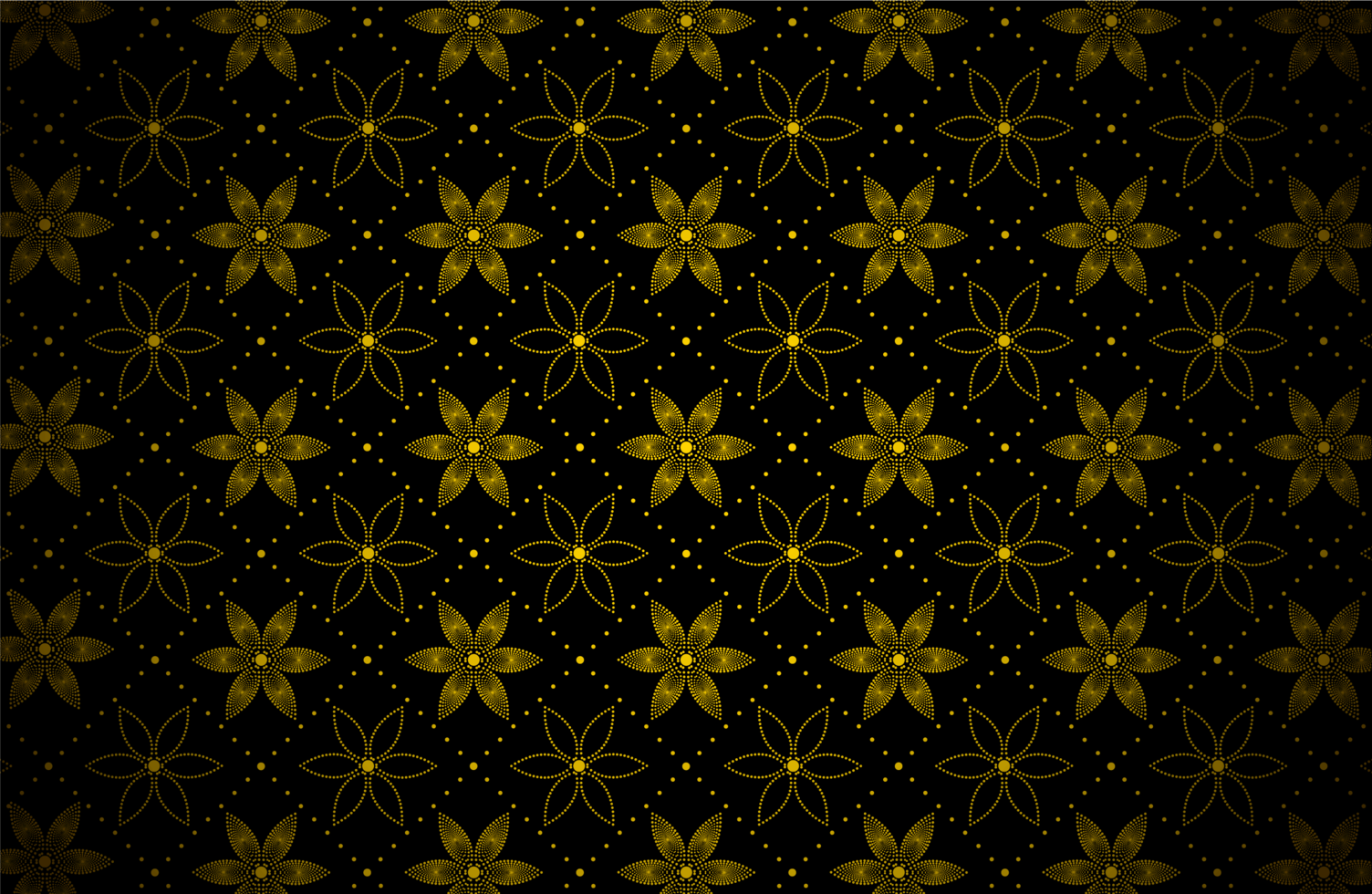 motivo a punti fiore oro scuro vettore