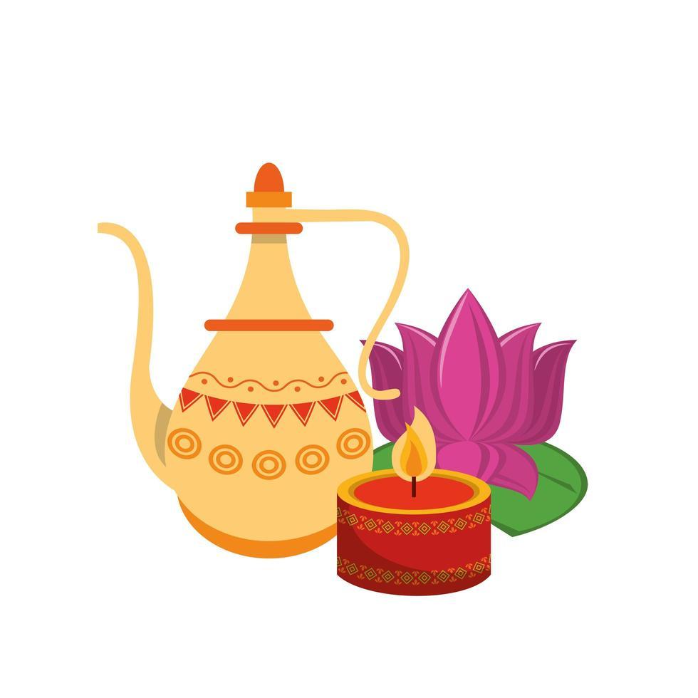 fiori di loto indiano e vasi decorativi in porcellana con foglie vettore
