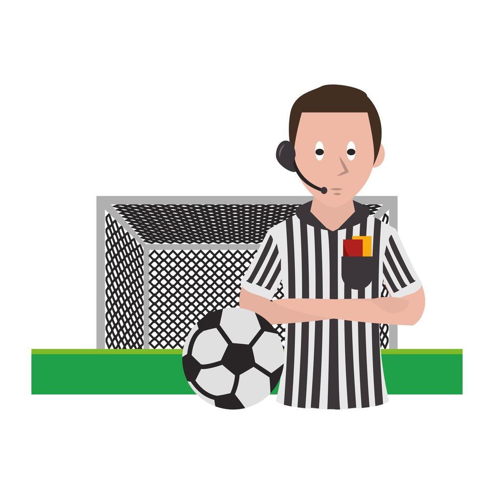 arbitro di calcio dei cartoni animati vettore