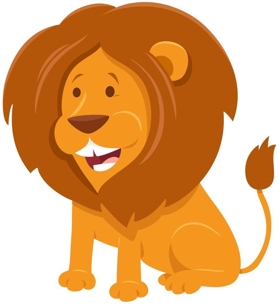 carattere animale selvatico del fumetto del leone vettore