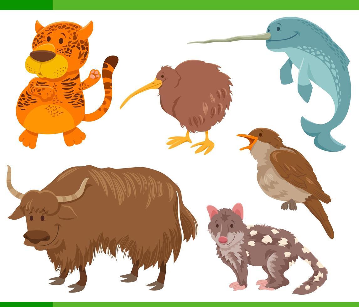 set di caratteri animali selvatici divertenti del fumetto vettore