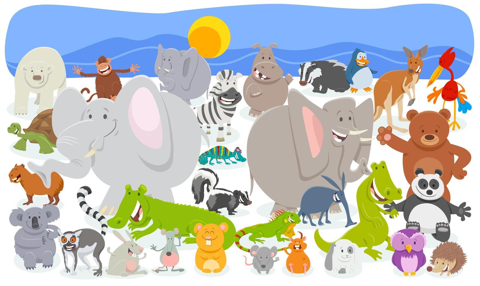 sfondo di folla di personaggi animali dei cartoni animati vettore