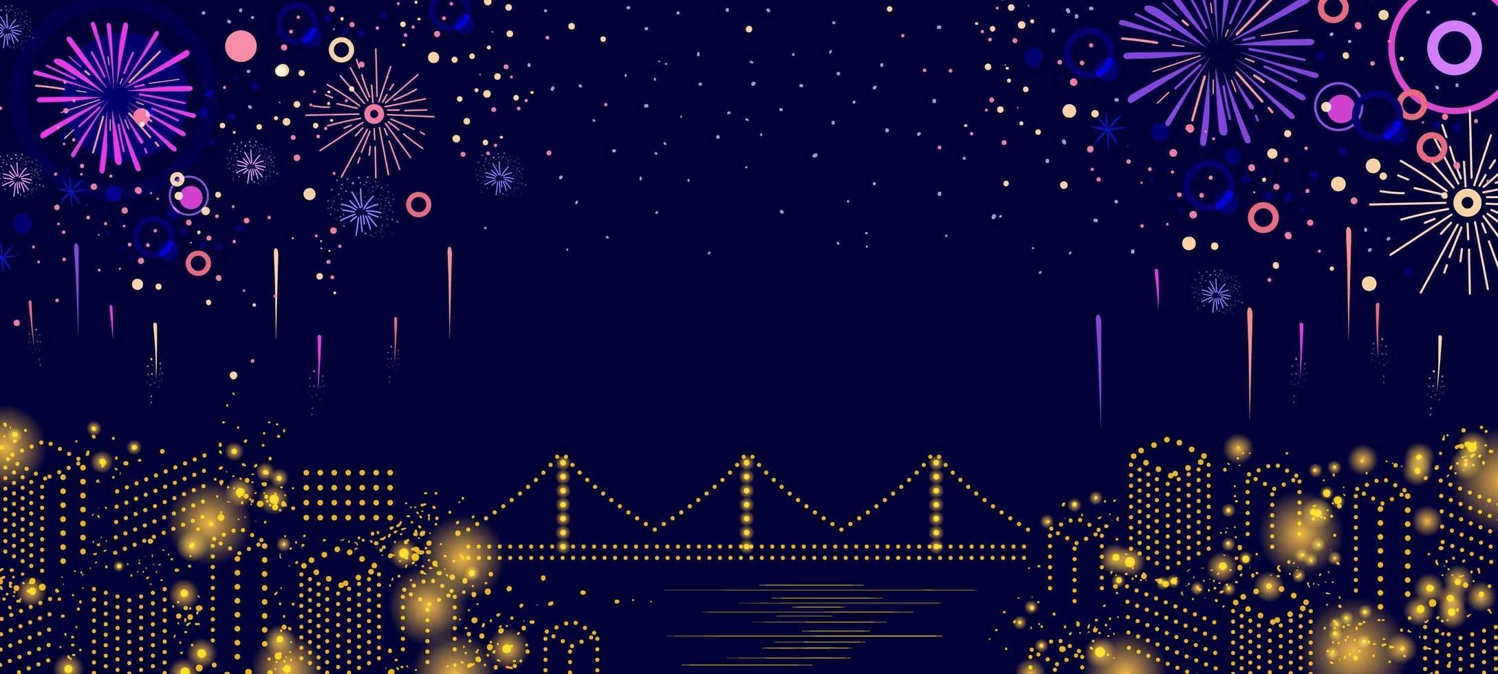 festival fuochi d'artificio di notte vettore
