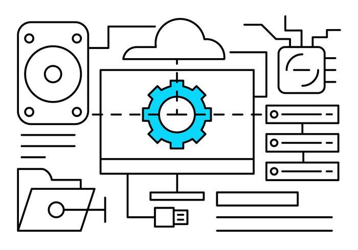 Icone di vettore di rete di computer lineare