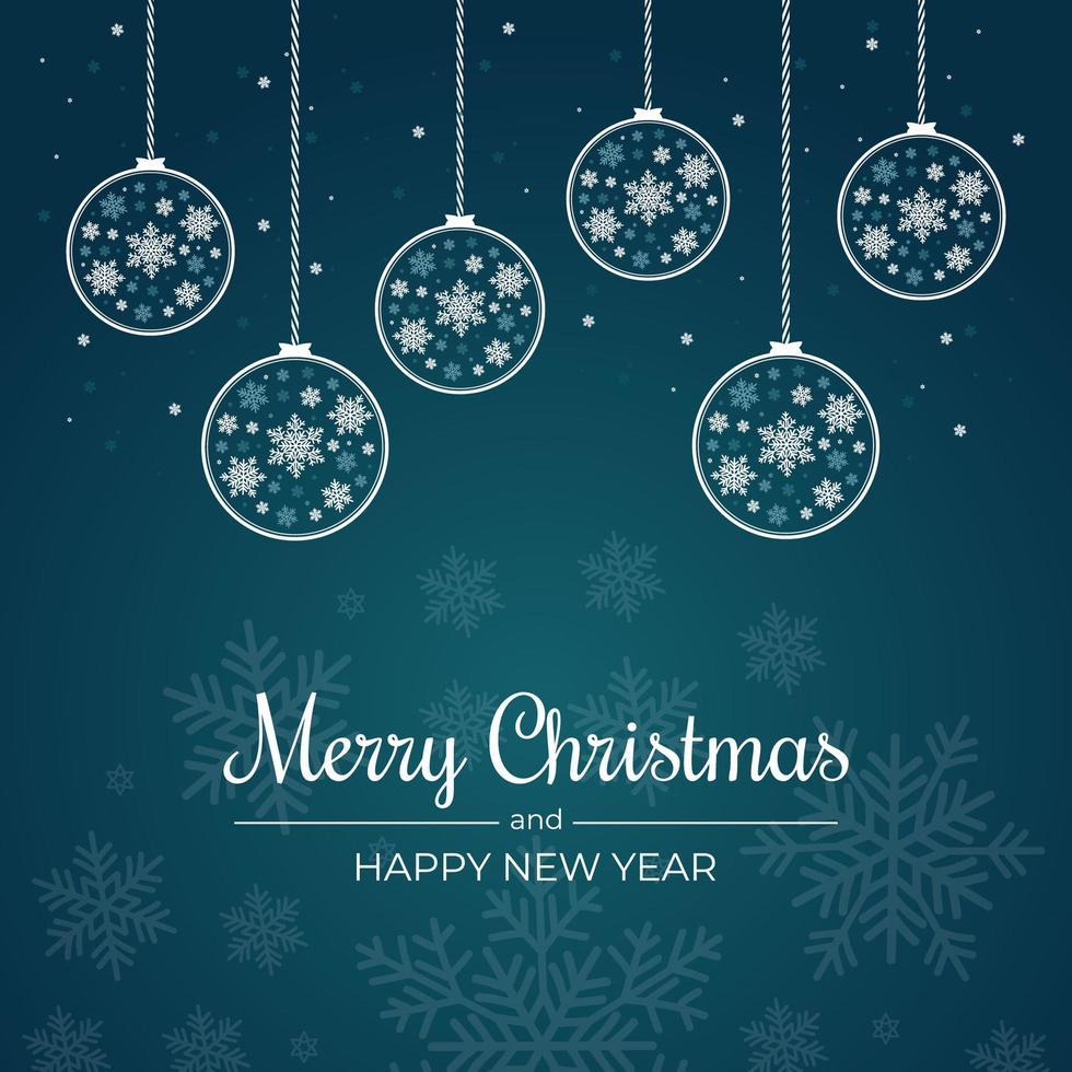 cartolina di Natale con fiocchi di neve e contorni ornamenti appesi vettore