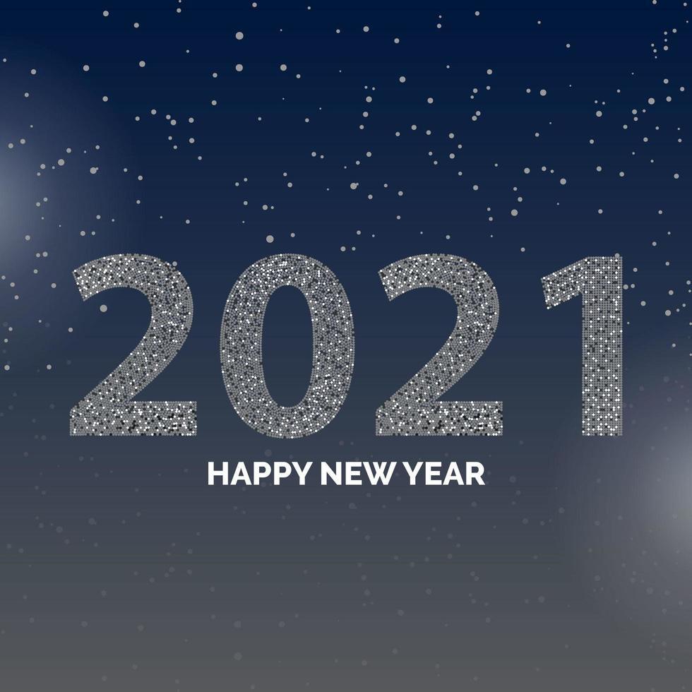 Poster di felice anno nuovo 2021 con fiocchi di neve vettore