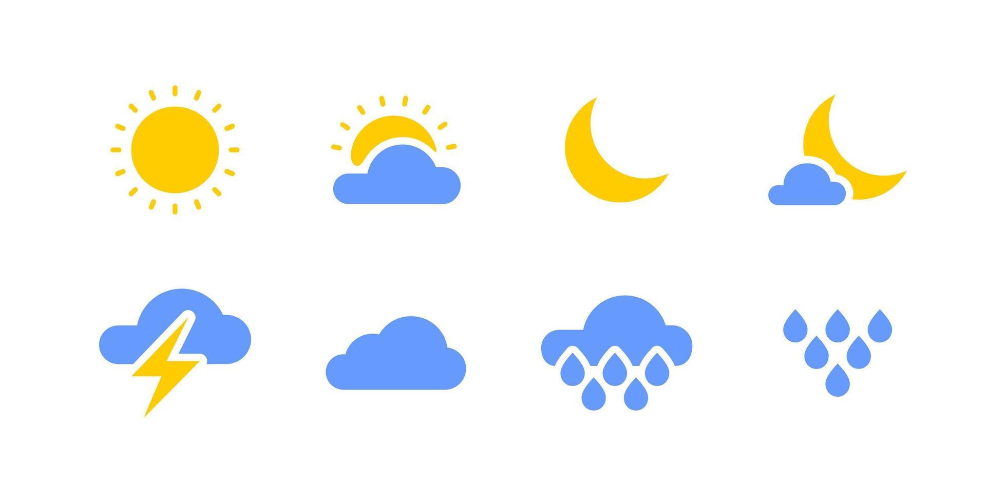 set di icone colorate meteo vettore