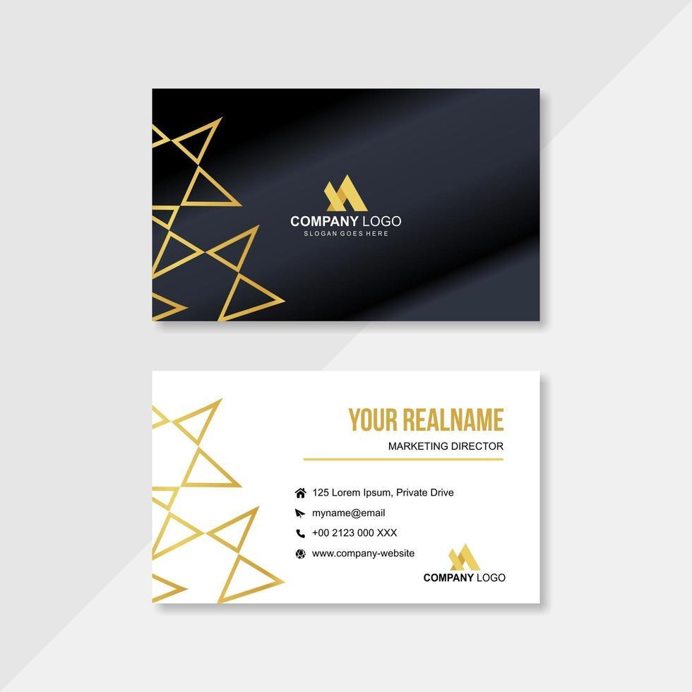 modello di biglietto da visita con elementi geometrici in oro vettore
