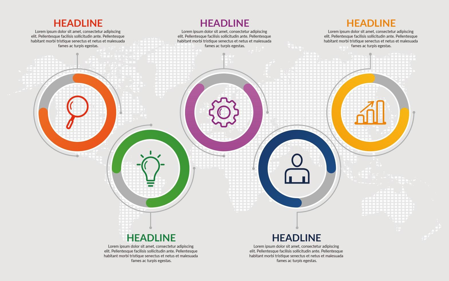modello di infografica aziendale cerchio colorato vettore