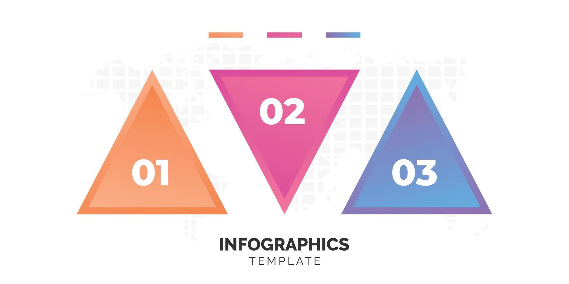 modello di infografica triangolo colorato in tre fasi vettore