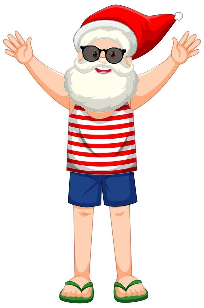 personaggio dei cartoni animati di Babbo Natale in tema estivo spiaggia vettore