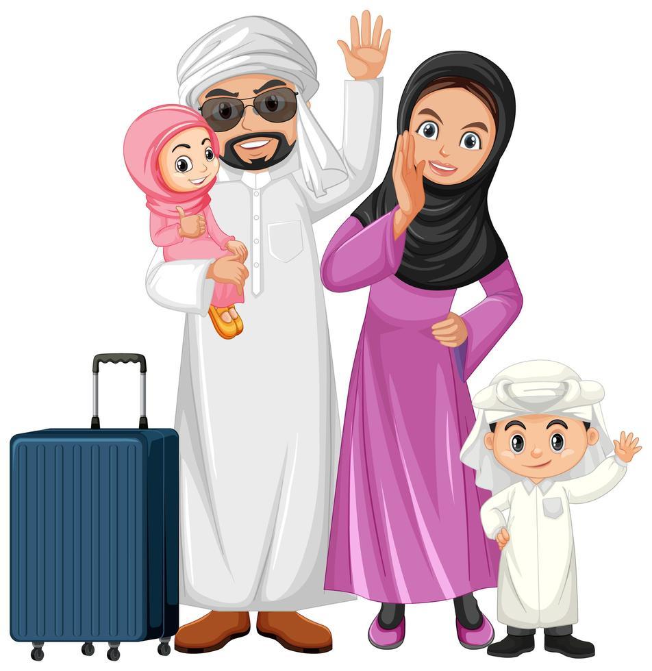 famiglia araba in vacanza vettore