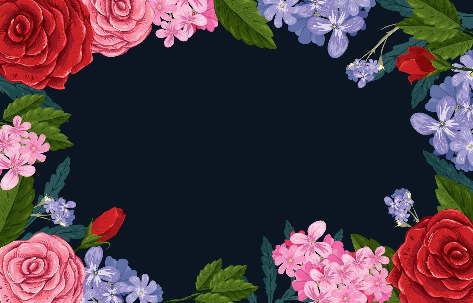 combinazione di fiori con sfondo blu scuro vettore