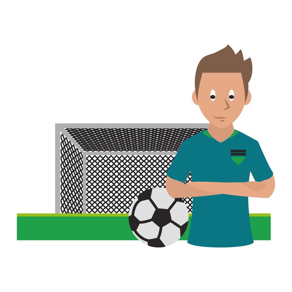 icona dello sport con il calciatore vettore