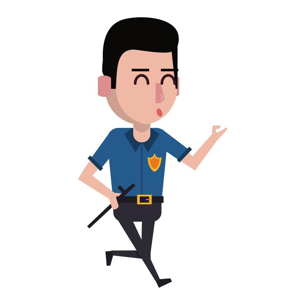 cartone animato poliziotto lavorando vettore