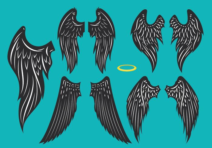 Imposta l'illustrazione di Os Black Wings vettore