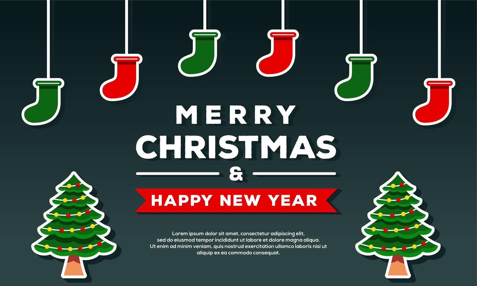 buon natale e felice anno nuovo sfondo vettore