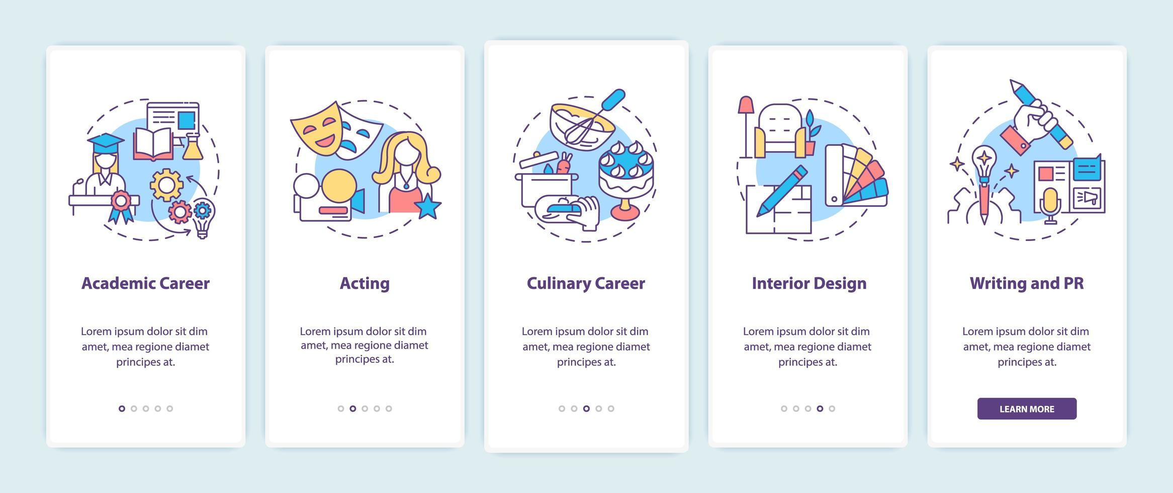 le migliori carriere per pensatori creativi che stanno iniziando l'app mobile vettore