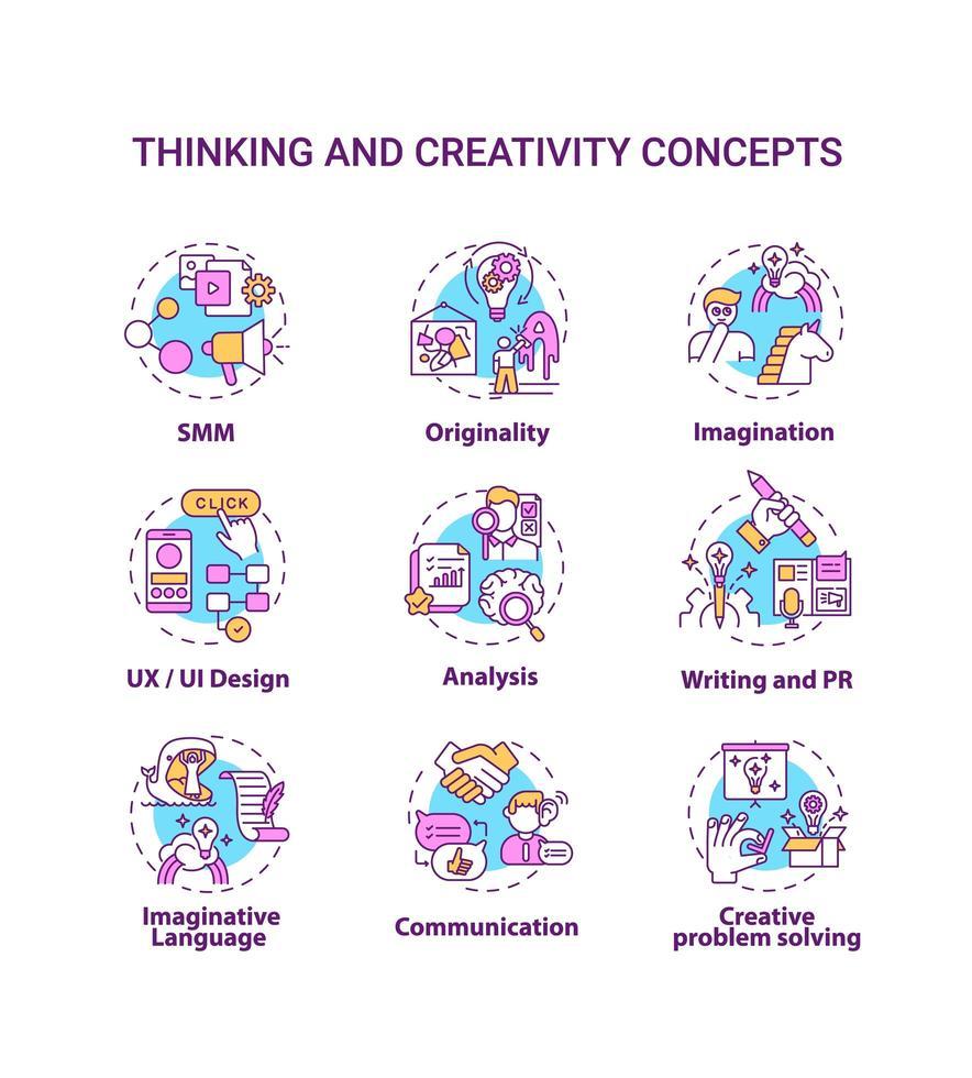 set di icone di concetto di pensiero e creatività vettore
