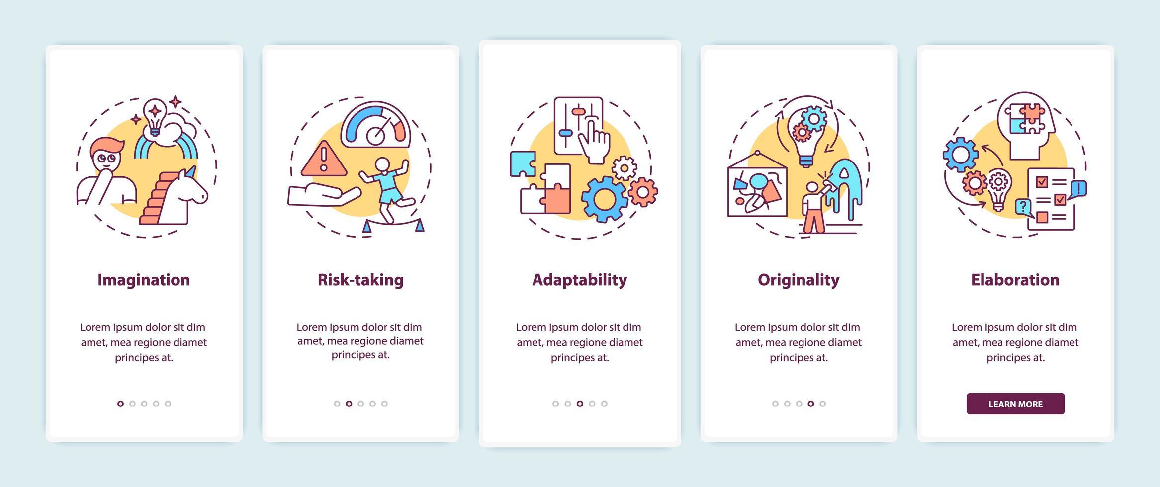 capacità di pensiero creativo onboarding schermata della pagina dell'app mobile vettore