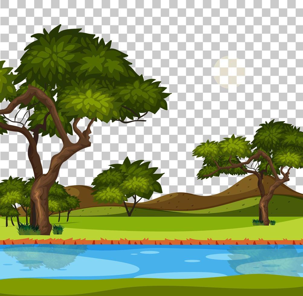 scena del parco naturale vuoto con fiume su sfondo trasparente vettore
