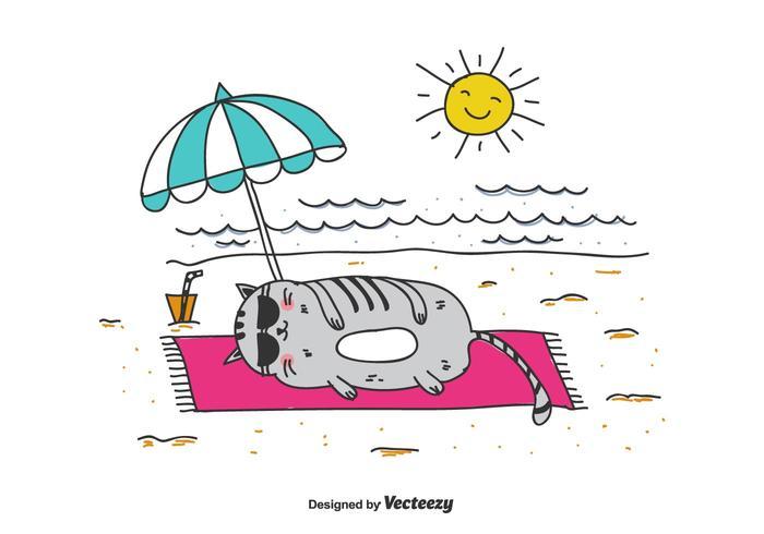 Vettore grasso del gatto sulla spiaggia