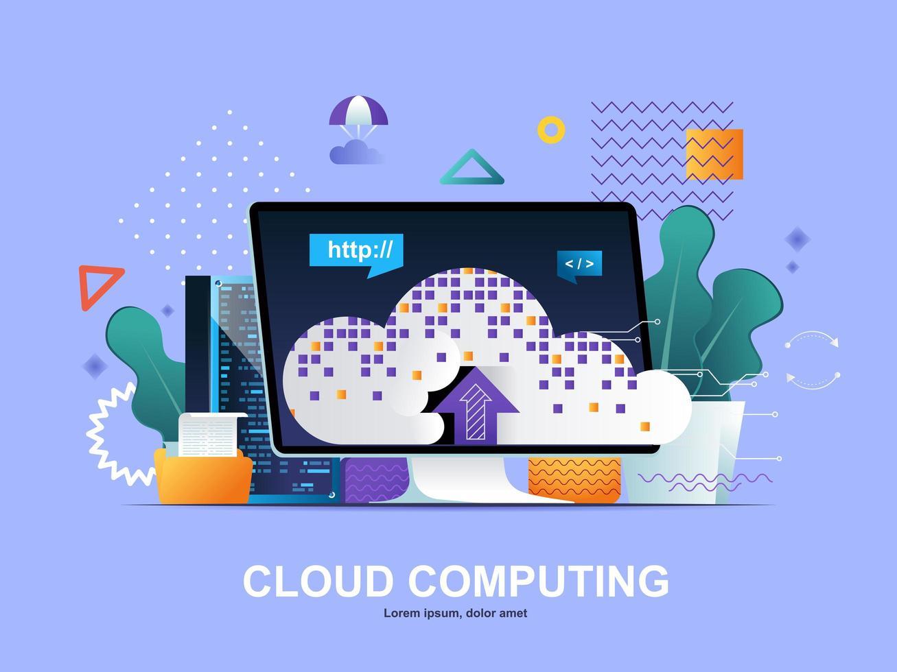 concetto piatto di cloud computing con sfumature vettore