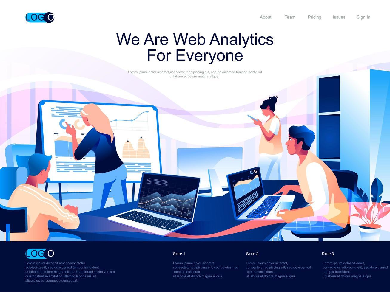 siamo web analytics per la landing page di tutti vettore