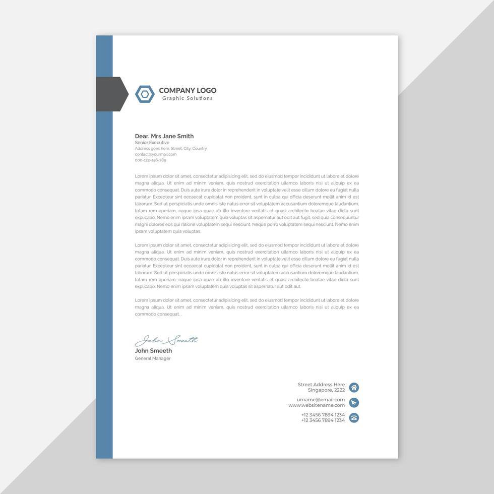 carta intestata aziendale moderna con dettagli blu vettore