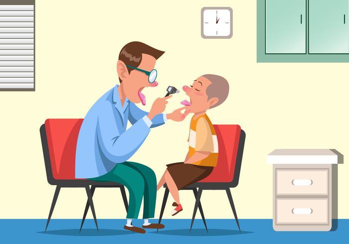 Pediatra che controlla un vettore sano del bambino