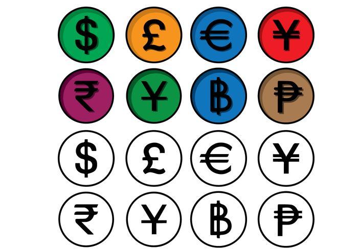 Insieme dell'icona di finanza di valuta vettore