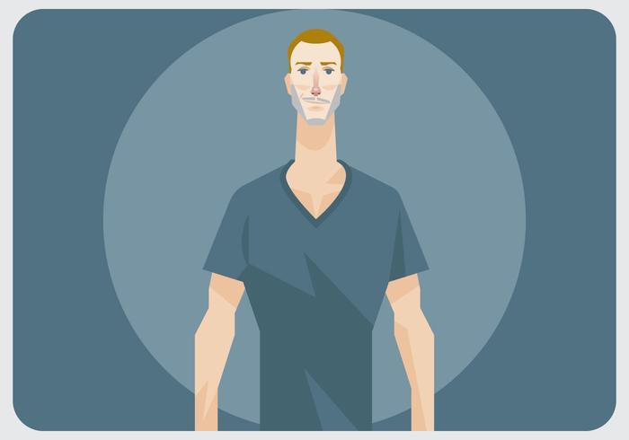 Un uomo con il vettore della camicia del collo a V