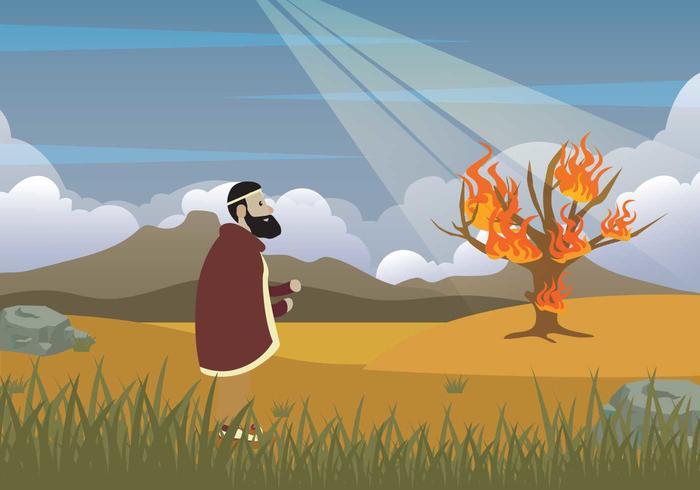 Moses gratuito e illustrazione di Bush Burning vettore