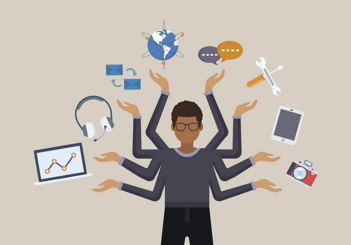 vettori di multitasking di persone piane
