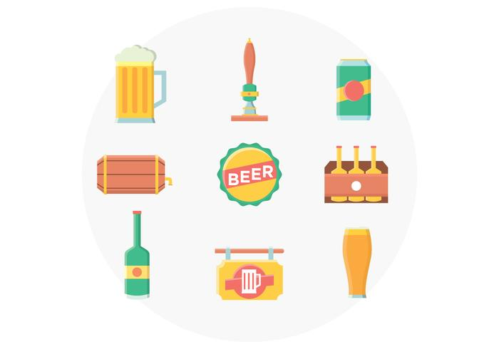 Set di icone di birra vettore