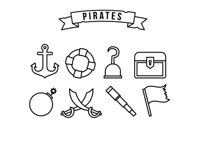 Set di icone del pirata vettore