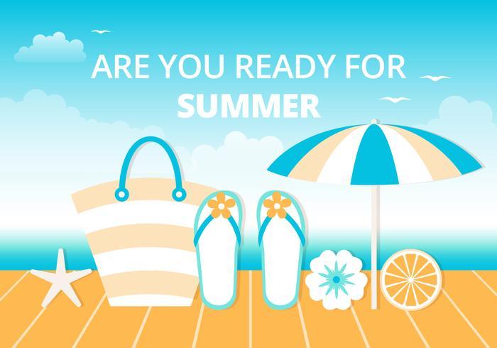 Fondo di vettore piatto estate spiaggia gratis